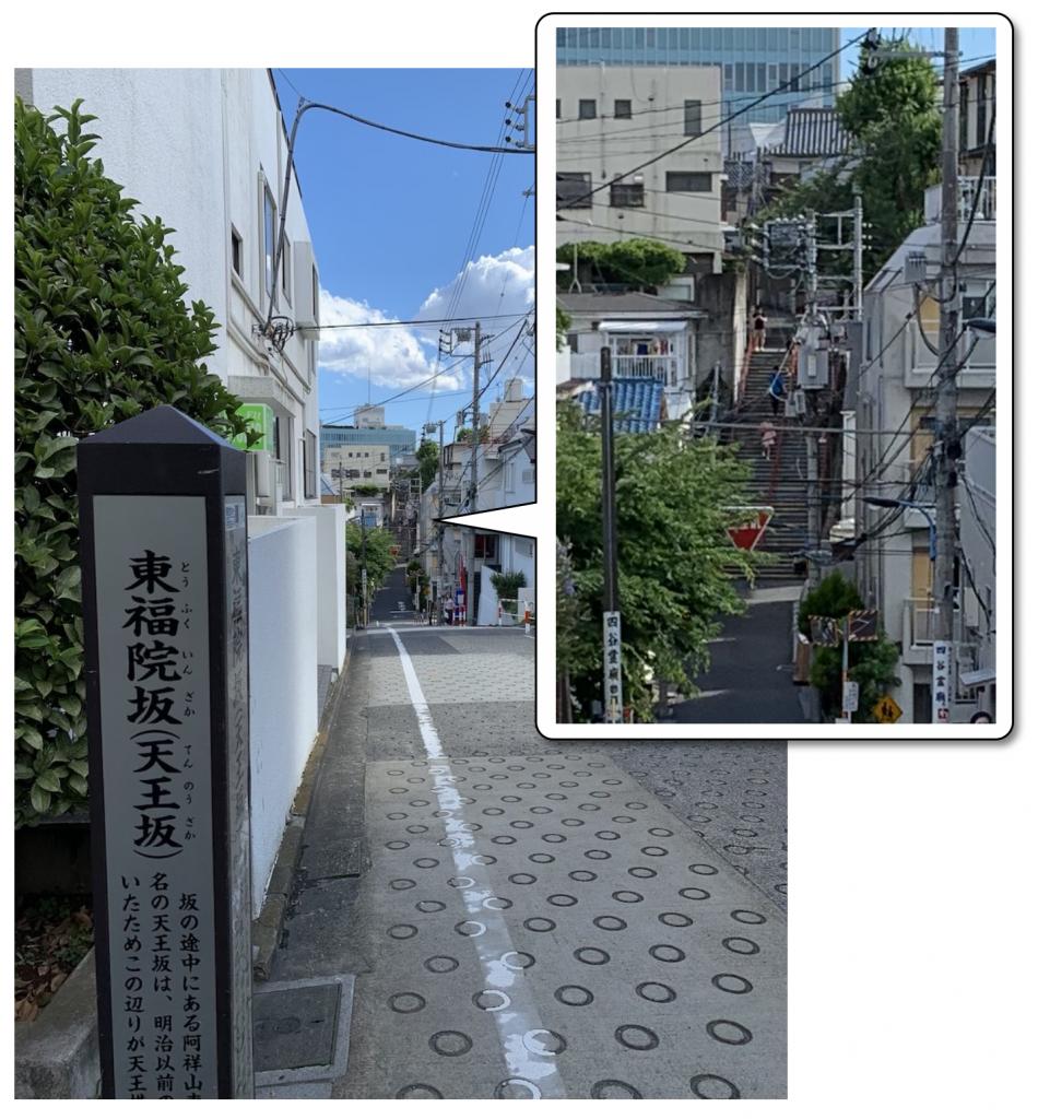 反対側の東福院坂から見た須賀神社の階段